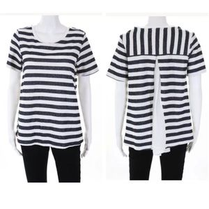 Sanctuary Dark Gray & White Striped Blouse Top